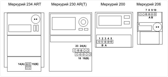 "Интерфейсные клеммники счётчиков ""Меркурий""."